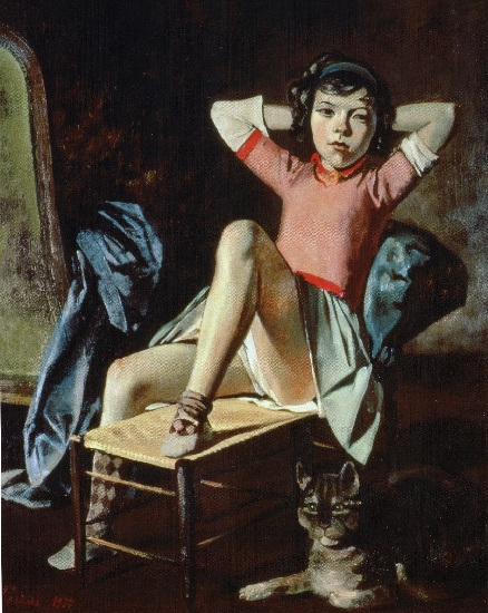 Girl with Cat, 1937 by Balthus (Balthasar Klossowski) (1908-2001, France) | Museum Art Reproductions | ArtsDot.com