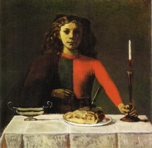 Balthus (Balthasar Klossowski) - Girl in green and red (the candlestick)
