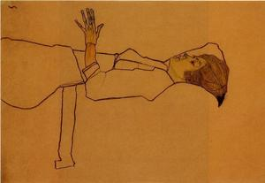 Egon Schiele - Clothed Woman, Reclining