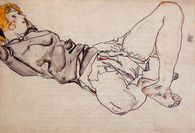 Order Museum Quality Reproductions : Recliing Woman with Blond Hair by Egon Schiele (1890-1918, Croatia) | ArtsDot.com