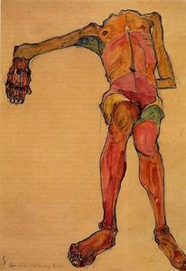 Egon Schiele - Seated Male Nude, Right Hand Outstretched