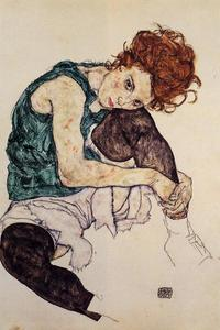 Egon Schiele - Seated Woman with Bent Kn..