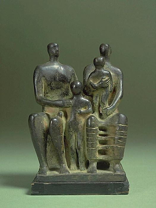 Family Group, Maquette No. 4, Sculpture by Henry Moore (1898-1986, United Kingdom)