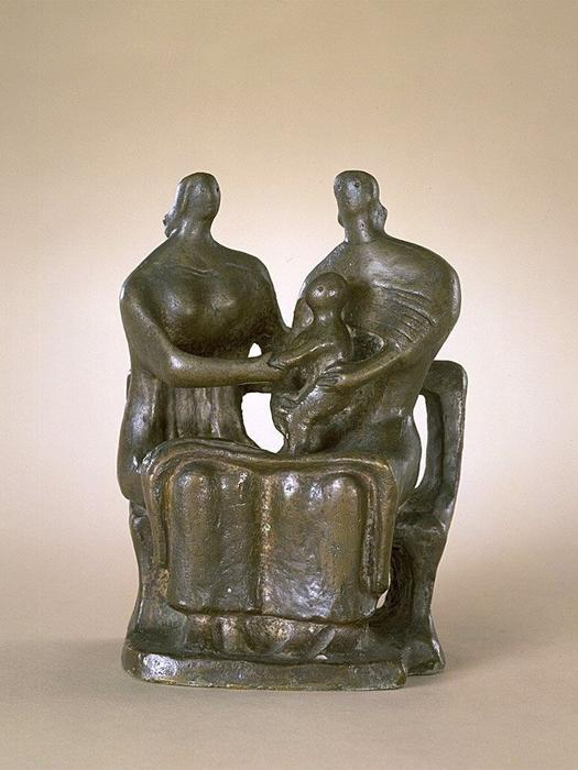 Two Seated Women and Child, Sculpture by Henry Moore (1898-1986, United Kingdom)