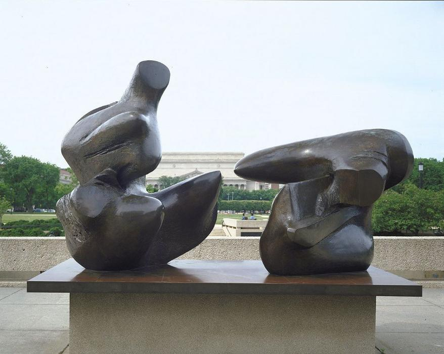 Two-Piece Reclining Figure, Points, Sculpture by Henry Moore (1898-1986, United Kingdom)