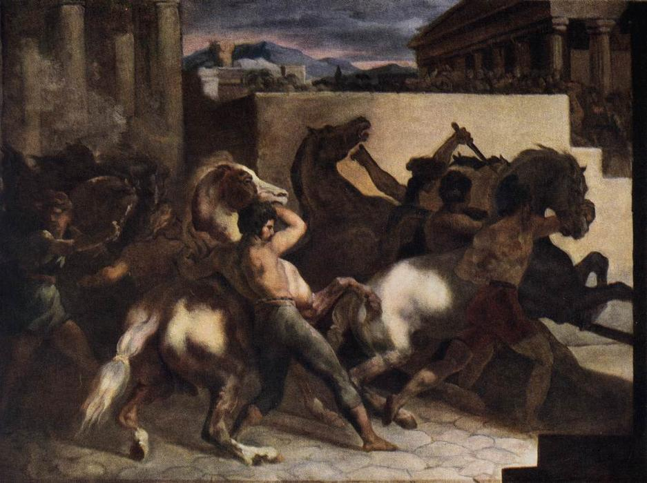 Riderless Horse Races, Oil On Canvas by Jean-Louis André Théodore Géricault (1791-1824, France)