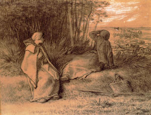 Jean-François Millet - Shepherdesses Seated In The Shade
