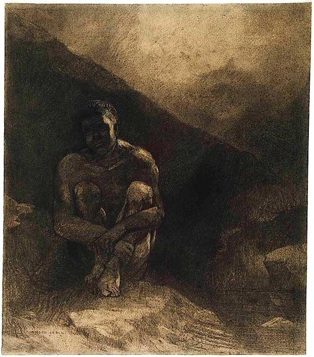 Order Art Reproduction : Primitive Man Seated in Shadow by Odilon Redon (1840-1916, France) | ArtsDot.com