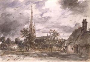 John Constable - Salisbury Cathedral with cottages
