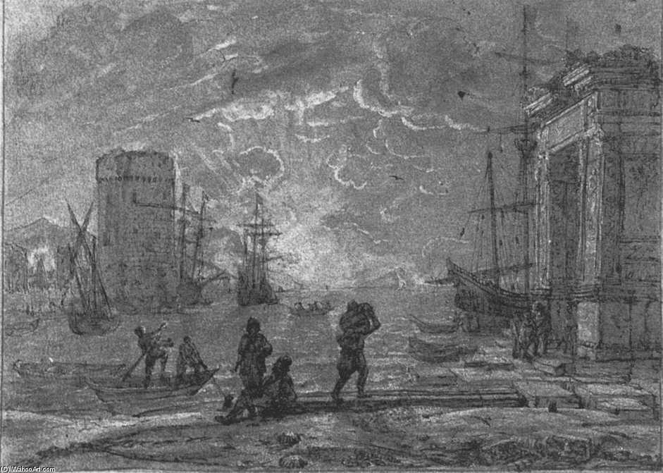 Harbour Scene, Pen by Claude Lorrain (Claude Gellée)