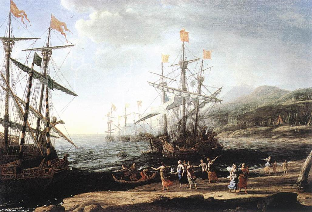 Marine with the Trojans Burning their Boats, Oil On Canvas by Claude Lorrain (Claude Gellée)