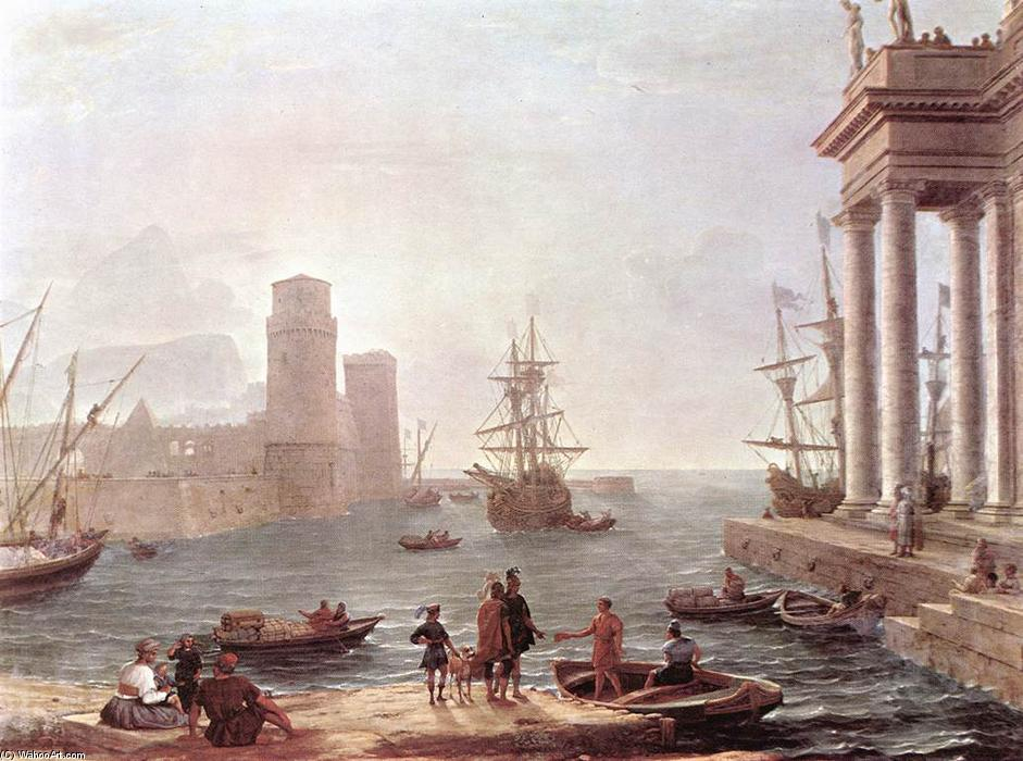 Port Scene with the Departure of Ulysses from the Land of the Feaci, Oil On Canvas by Claude Lorrain (Claude Gellée)