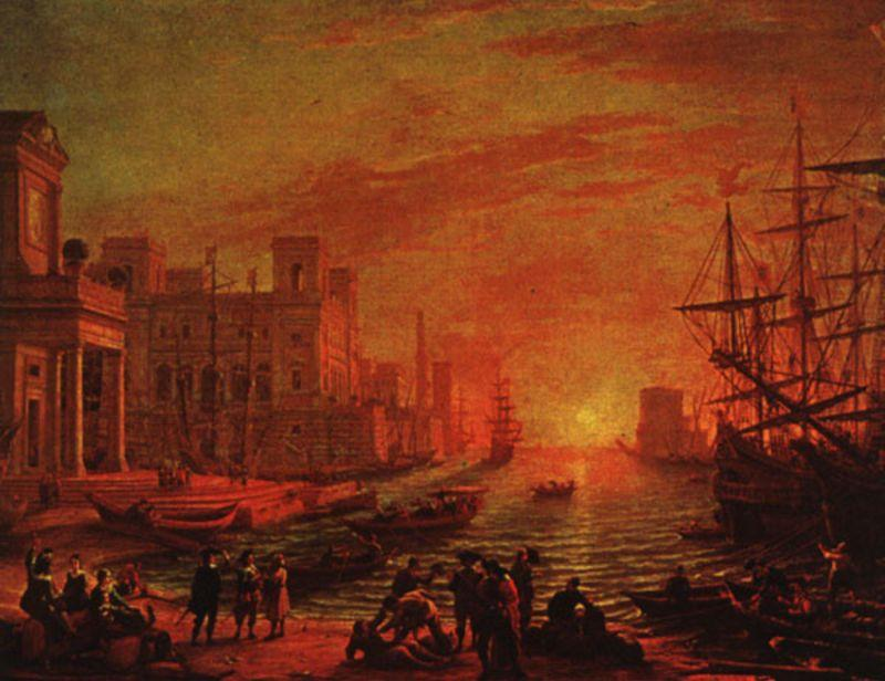 Seaport at Sunset, 1639 by Claude Lorrain (Claude Gellée) | Museum Quality Reproductions | ArtsDot.com