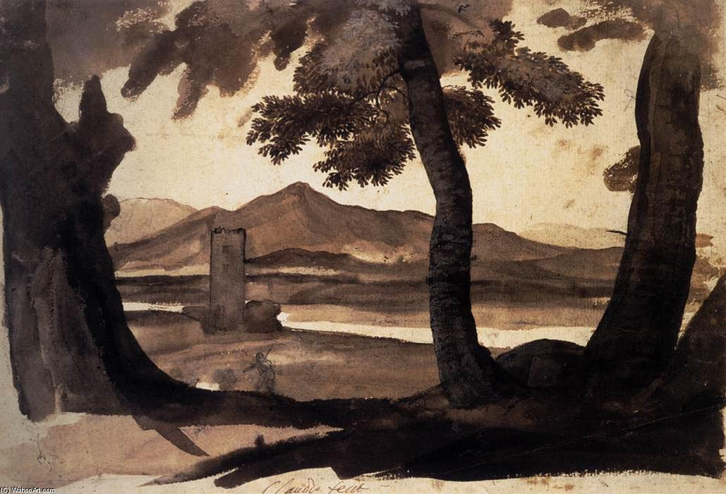 View of the Campagna, Wash by Claude Lorrain (Claude Gellée)