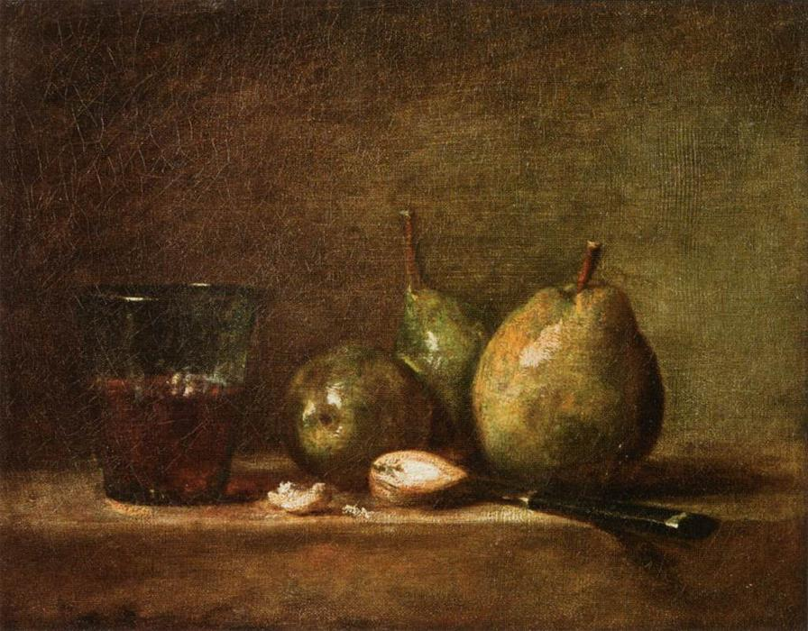 Order Museum Quality Reproductions : Pears, Walnuts and Glass of Wine by Jean-Baptiste Simeon Chardin (1699-1779, France) | ArtsDot.com