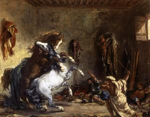 Eugène Delacroix - Arab Horses Fighting in a Stable