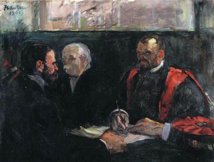 An Examination at the Faculty of Medicine, Oil by Henri De Toulouse Lautrec (1864-1901, France)