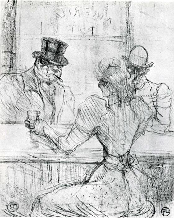 At the Bar Picton, Rue Scribe, 1896 by Henri De Toulouse Lautrec (1864-1901, France)