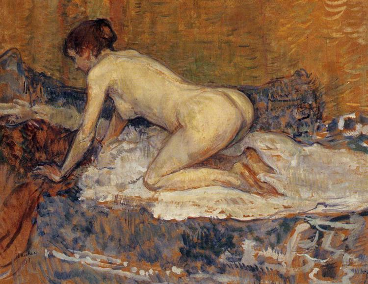 Crouching Woman with Red Hair, Oil by Henri De Toulouse Lautrec (1864-1901, France)