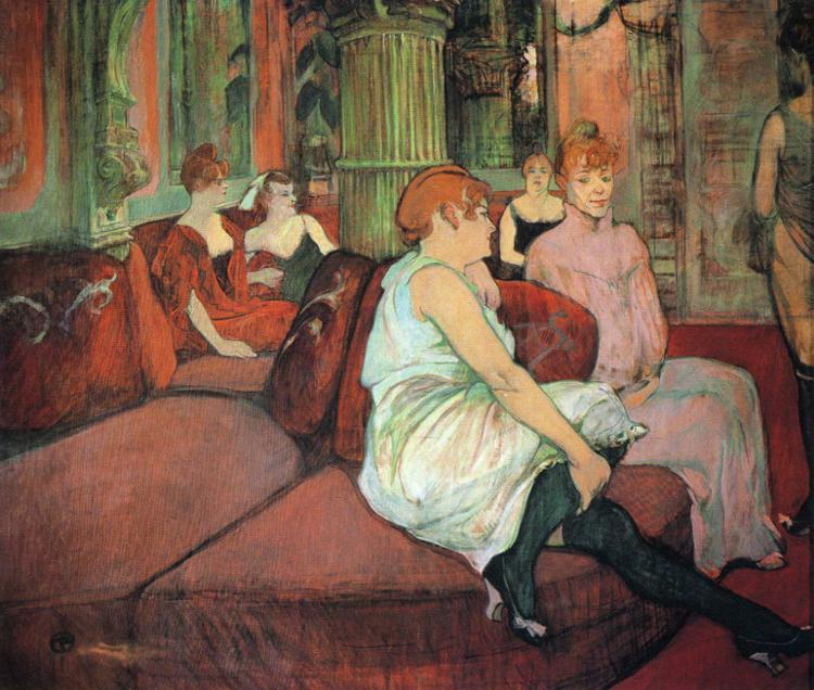 In the Salon at the Rue des Moulins, Oil by Henri De Toulouse Lautrec (1864-1901, France)