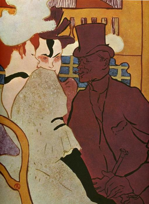 L'Anglais Warner Au Moulin Rouge, Oil by Henri De Toulouse Lautrec (1864-1901, France)