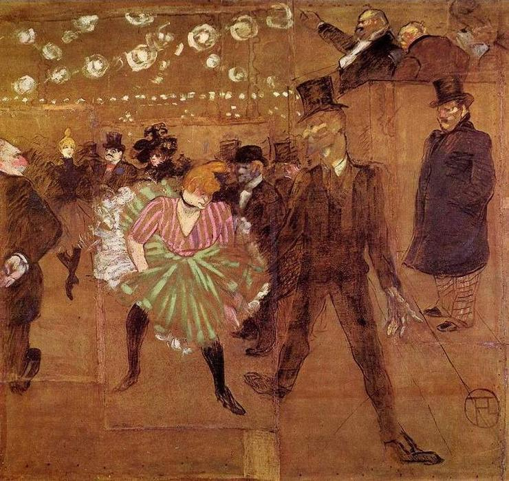 Le Goulue Dancing with Valentin-le-Desosse, Oil On Canvas by Henri De Toulouse Lautrec (1864-1901, France)
