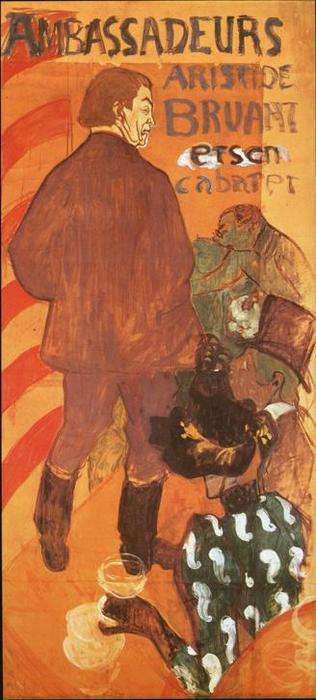 Les Ambassadeurs, Aristide Bruant and His Cabaret, Oil by Henri De Toulouse Lautrec (1864-1901, France)