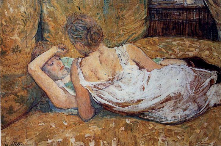 Les Deux amies, Oil by Henri De Toulouse Lautrec (1864-1901, France)