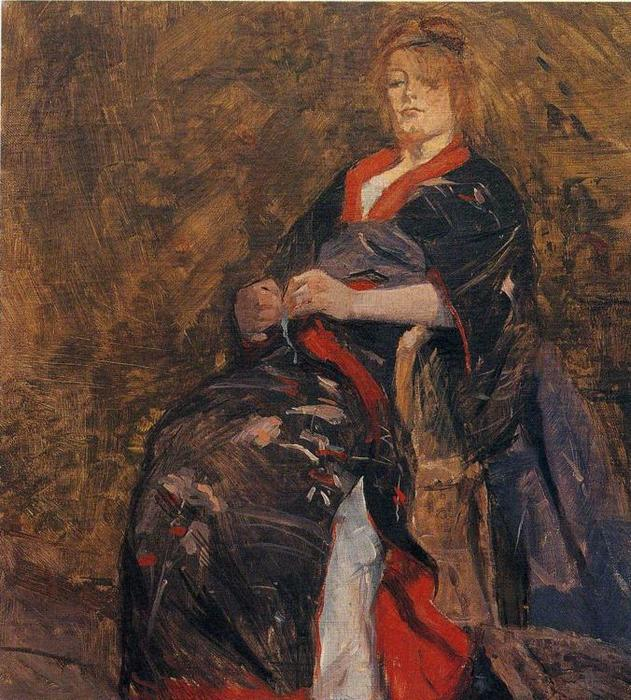 Mme Lili Grenier, Oil by Henri De Toulouse Lautrec (1864-1901, France)