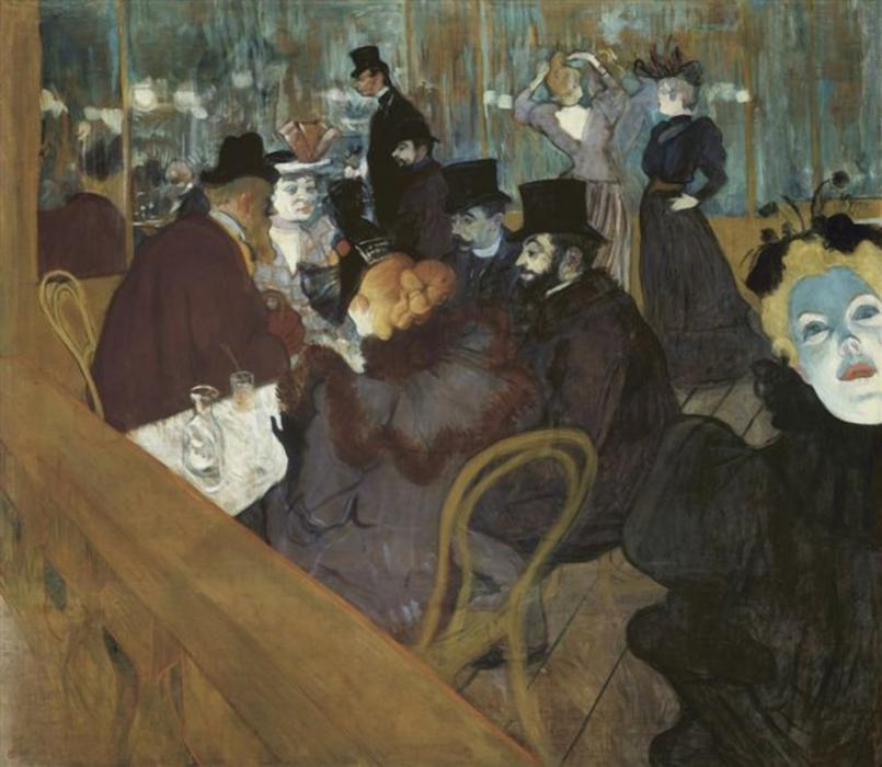 Self-portrait in the crowd, at the Moulin Rouge, Oil by Henri De Toulouse Lautrec (1864-1901, France)