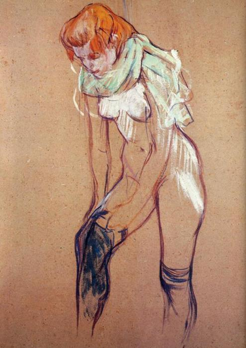 Study for Woman Putting on Her Stocking, Oil by Henri De Toulouse Lautrec (1864-1901, France)