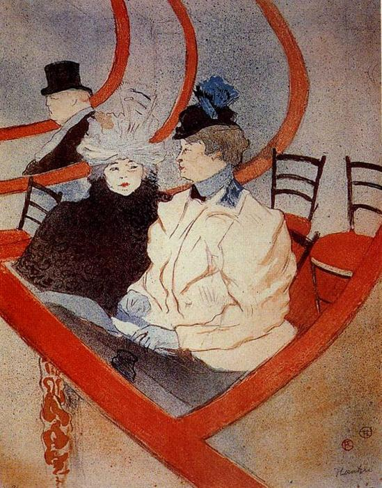 The Large Theater Box, Oil by Henri De Toulouse Lautrec (1864-1901, France)
