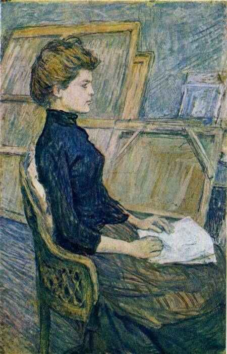 The Painter's Model Hélène Vary in the Studio, Oil by Henri De Toulouse Lautrec (1864-1901, France)