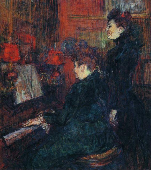 The Singing Lesson. (The Teacher, Mlle.Dihau, with Mme.Faveraud), Oil by Henri De Toulouse Lautrec (1864-1901, France)