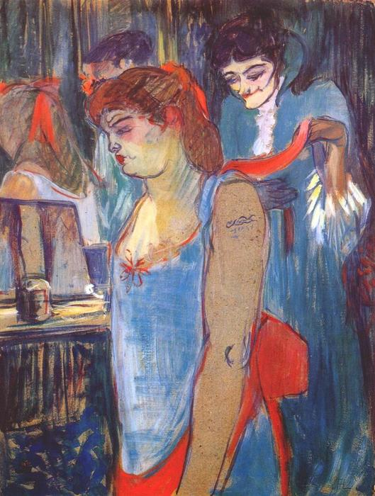 The Tattooed Woman or The Toilette, Oil by Henri De Toulouse Lautrec (1864-1901, France)