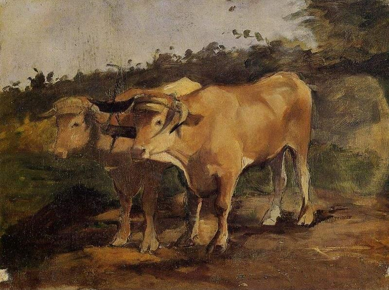 Two Bulls Wearing a Yoke, Oil On Canvas by Henri De Toulouse Lautrec (1864-1901, France)