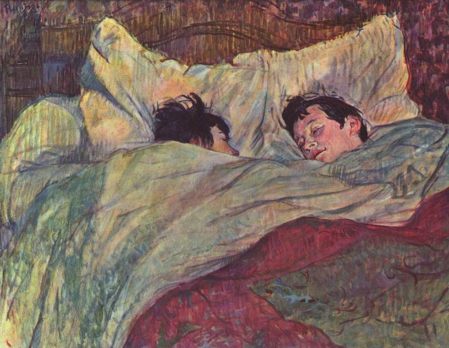 Two Girls In Bed, Oil by Henri De Toulouse Lautrec (1864-1901, France)