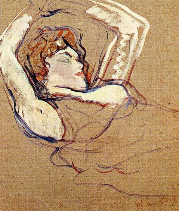 Woman Lying on Her Back, Both Arms Raised, Oil by Henri De Toulouse Lautrec (1864-1901, France)
