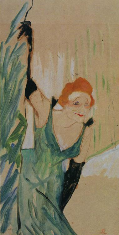 Yvette Guilbert Greeting the Audience, Oil by Henri De Toulouse Lautrec (1864-1901, France)