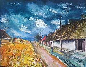 Maurice De Vlaminck - Thatched Cottages at the Roadside