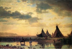 Albert Bierstadt - View of Chimney Rock Ogalillalh Sioux Village in Foreground