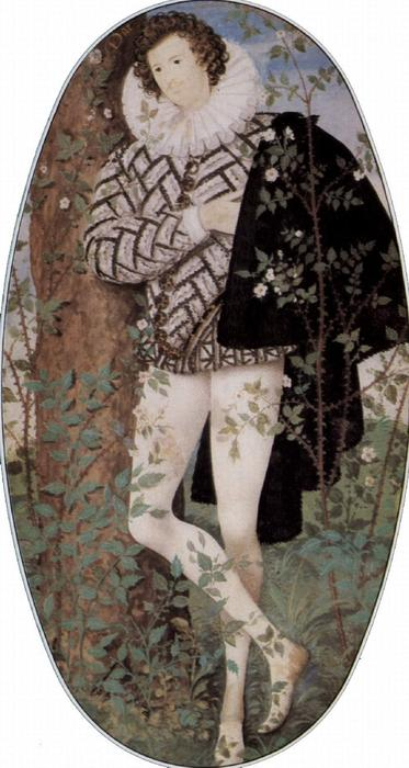 Young Man Among Roses, Oil by Nicholas Hilliard (1577-1619, United Kingdom)