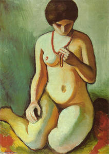 August Macke - Nude with Coral Necklace
