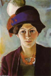 August Macke - Portrait of the Artist-s Wife with Hat