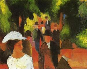 August Macke - Promenade (with Half Length of Girl in White)