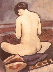 August Macke - Sitting Nude with Cushions