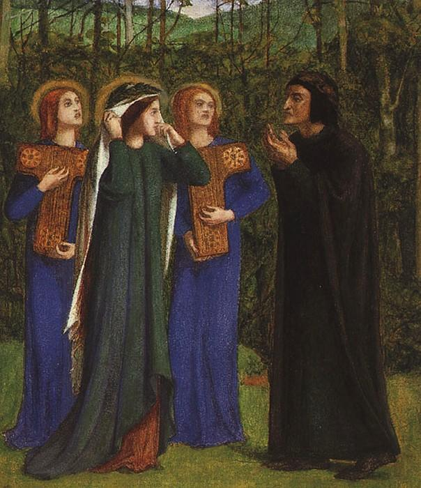 The Meeting of Dante and Beatrice in Paradise, Paper by Dante Gabriel Rossetti (1828-1882, United Kingdom)