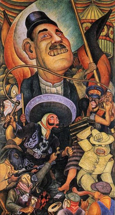 Carnival of Mexican Life. Dictatorship, Frescoes by Diego Rivera (1886-1957, Mexico)