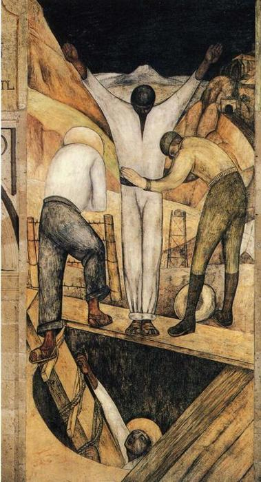 Exit from the Mine, Frescoes by Diego Rivera (1886-1957, Mexico)