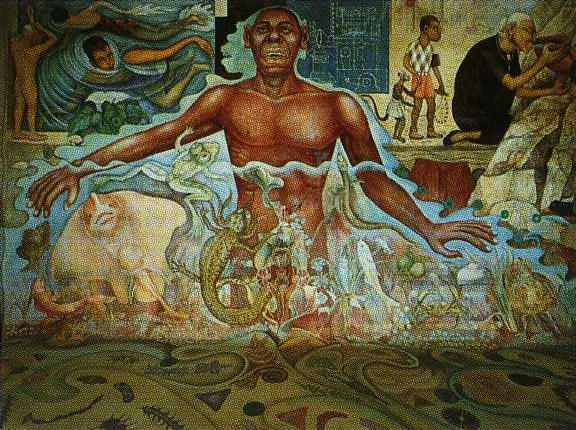 Figure Symbolizing the African Race, Frescoes by Diego Rivera (1886-1957, Mexico)